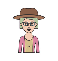 woman half body with hat and glasses and blouse vector image