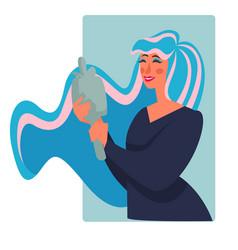 Woman looking in mirror smarten up and makeup vector