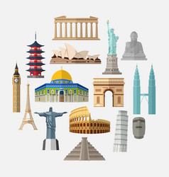 World famous landmarks icon set vector