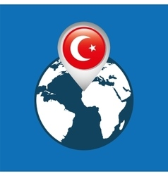 World map with pointer flag turkey vector