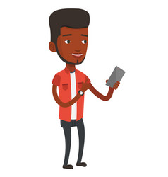 Young smiling man holding mobile phone vector