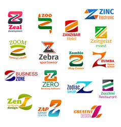Z letter corporate identity business icons vector