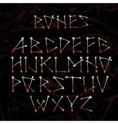 Alphabet made of crossed white bones vector image
