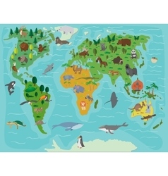 Animal world Funny cartoon map vector image