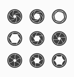 Camera shutter icons vector image vector image
