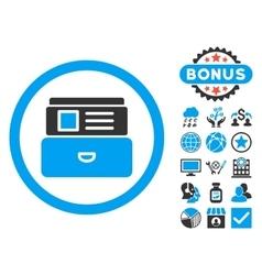 Catalog Flat Icon with Bonus vector image
