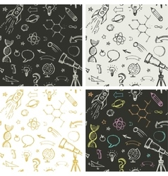 education science doodles - seamless patterns vector image vector image