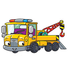 Funny small tow truck with eyes vector