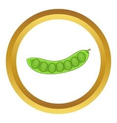 Green pea pod icon vector