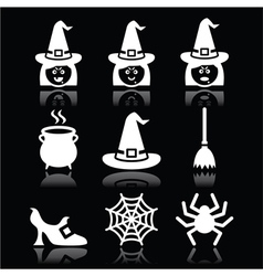Witch Halloween icons set on black vector image vector image
