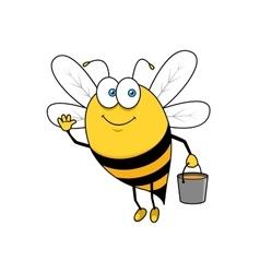 Cartoon flying bee with honey bucket waving hand vector image vector image