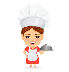 Cook woman female master chef funny cartoon vector
