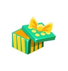Green And Yellow Empty Gift Box Without Present vector image vector image