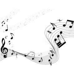 musical notes background vector image vector image