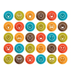 set of color smiley icons vector image vector image