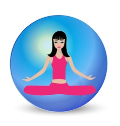 Yoga girl meditation logo vector image vector image