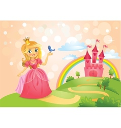 Fairy Tale castle and Beautiful princess vector image