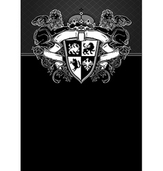 ornate frame with shield vector image