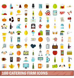 100 catering firm icons set flat style vector image