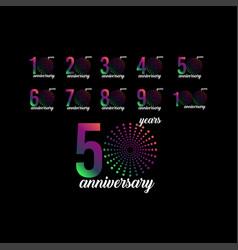 50 year anniversary set firework template design vector