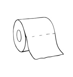 a roll toilet paperhand-drawn toilet paper vector image