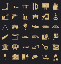 Articulated lorry icons set simple style vector