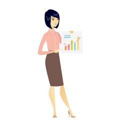 asian business woman showing financial chart vector image
