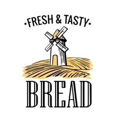 Bakery shop logo Mill on wheat field in black vector