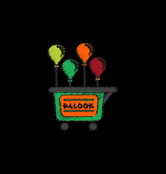 Balloons sell cart in hatching style vector