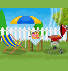 Bbq party sun lounger vector