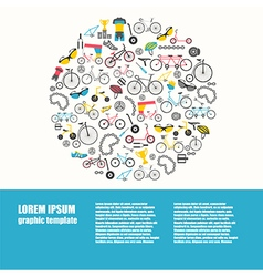 Bicycle graphic design Bike types flat des vector image