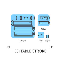 Book pile blue linear icons set vector