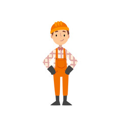 Boy construction worker character in uniform and vector
