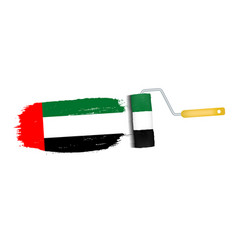 brush stroke with united arab emirates national vector image
