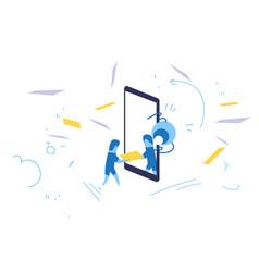 Businessman hold folder mobile app online vector