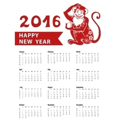 Calendar 2016Chinese zodiac red monkeyVertical vector image