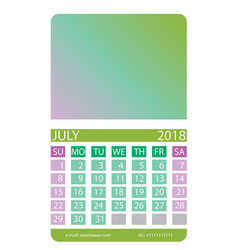 Calendar grid july vector