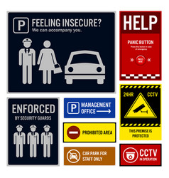 Car park safety and security signs signboards vector