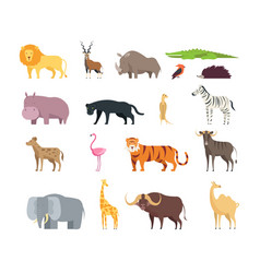 Cartoon african savannah animals wild zoo safari vector