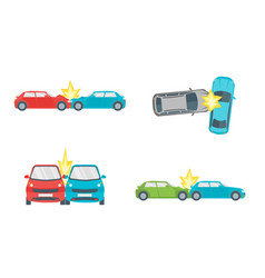 Cartoon car crash road accident set vector
