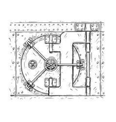 Cartoon drawing of closed vault door vector