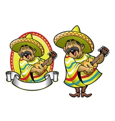 Cartoon of mexican man playing the guitar vector