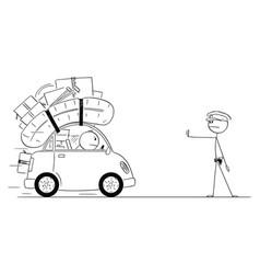 cartoon traffic policeman or traffic police vector image