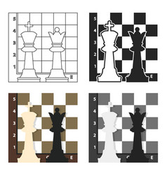 Chess icon in cartoon style isolated on white vector