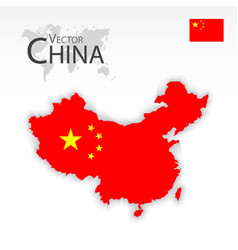 China map and flag vector