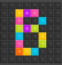 colorful brick block letter b flat design vector image