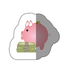 Colorful silhouette sticker of money box in shape vector