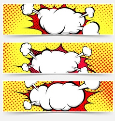 Comic book style pop-art header set vector image