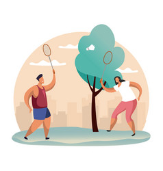 Couple playing badminton at forest or wood vector