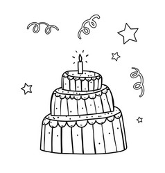 Cute birthday cake coloring book page vector